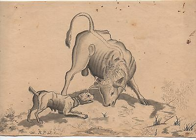 1793 Ink & Watercolor on Paper Drawing of a Bull and Dog signed R.P.