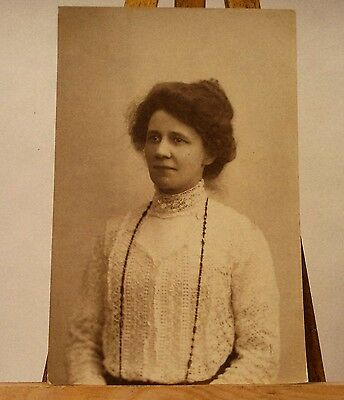 Real Photo Postcard Of Edwardian Lady Wearing A Lace Blouse. Rppc. Good Cond.