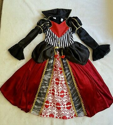 Authentic Kids QUEEN OF HEARTS Red Dress Girls 6X 6 Alice in Wonderland Costume