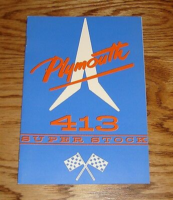 1962 Plymouth 413 Super Stock Owners Operators Manual 62