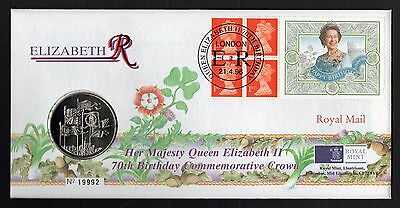 1996 Queens Birthday Machin Booklet Pane Souvenir Cover With £5.00 Coin