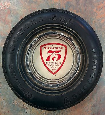 Vintage Firestone Steel Radial Tire Ashtray 75 Years of quality and service 1900
