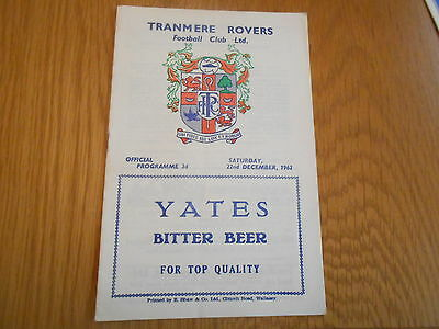 Tranmere Rovers Res V Buxton  Cheshire League  22/12/1962