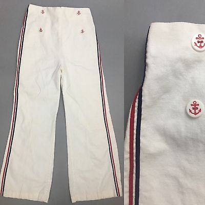 Vtg 1930's 40s Boys Kid Girls Sailor White Pants Trousers Red Blue Nautical Teen