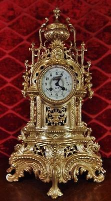 Large XL antique 1855 French Vincenti gilt pierced brass 8 day bell mantel clock