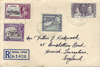 Cyprus George Vi Nicosia Reg Cover Dated 12 May 38 Two Values Of Def Set 1St Day