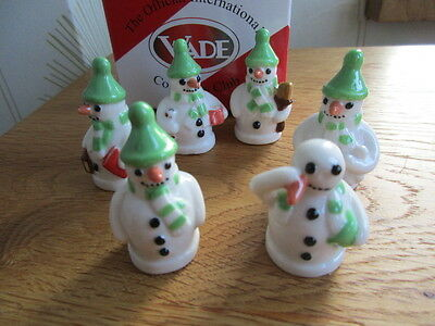 Wade  Snowmen Whimsies Green Version Full Set And Boxed