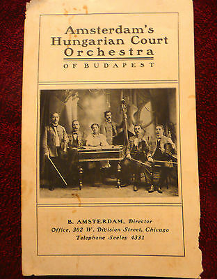 Amsterdam's Hungarian County Orchestra - Budapest 1902 pamphlet VINTAGE