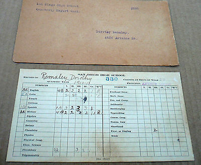 San Diego High School 1910-11  REPORT CARD and envelope !