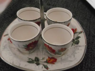 Midwinter stylecraft vintage egg cups and stand. Rose design.