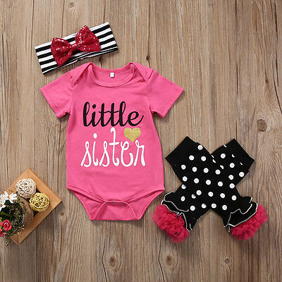 Newborn Baby Girl Little Sister Romper Tops Leggings Headband Outfit Set Clothes