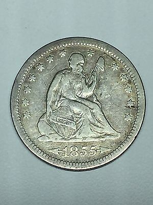 1855 P Seated Liberty Silver Quarter Arrows At Date Fine+