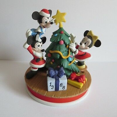 Disney Collection LE Christmas Porcelain Figurine 1988 Mickey Minnie and Morty