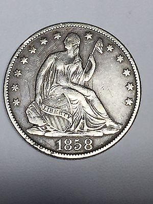 1858 O Seated Liberty Silver Half Dollar XF Scratches