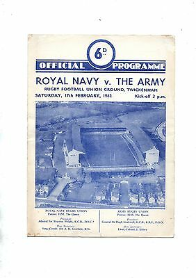 ROYAL NAVY v THE ARMY 1961/2 at Twickenham.