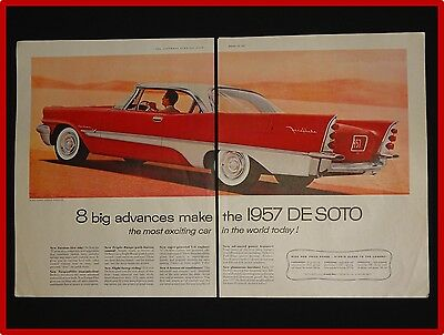 January 12, 1957 De Soto Car Ad ~ 2 Page ~ Red Fireflite