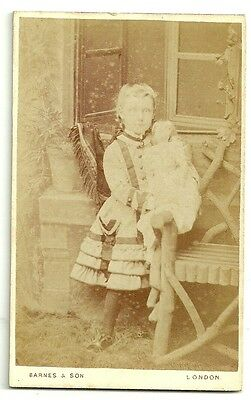 Victorian cdv photo  girl with doll London  Photographer