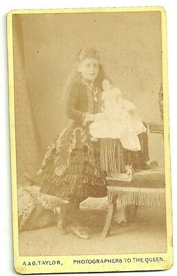 Victorian cdv photo  girl with Doll Sheffield  Photographer