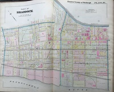1895 Braddock Pittsburgh Pennsylvania 6Th-9Th Street - Mills Station Atlas Map