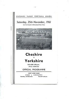 CHESHIRE v YORKSHIRE 1961/2 Northern Counties Championship.