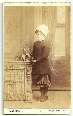 Victorian cdv photo young girl S Glassbrook standing Chesterfield  Photographer