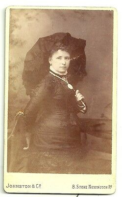 Victorian cdv photo young woman with parasol London  Photographer