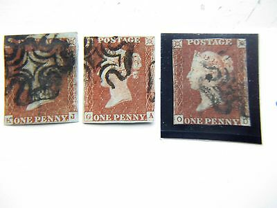 3 X S.G 8 1d red imperfs all with maltese cross cancelations