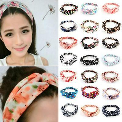 Girl Floral Women Elastic Turban Knotted Hair Band Twisted Headband Yoga