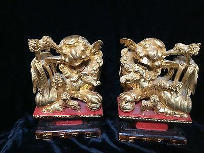 "antique Chinese carved pierced gilt wood temple foo dogs lions kylin  7.5"" tall"