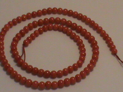Juicy Med Red Coral Full Strand 4.5 mm Round Beads Natural Undyed FINE A+ (464)
