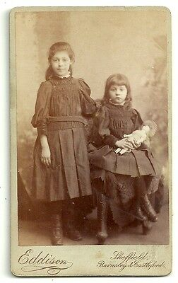 Victorian cdv photo  2 girls one with doll Sheffield  Photographer