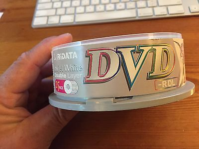 Ridata Double Layer DVD -R White Inkjet Printable 8.5GB 6 Pieces In Cakebox.