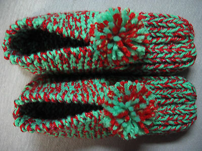 """New Amish Handmade Red & Green House Slippers Womans Sm/Med Mans X Sm 8 1/2"""""""