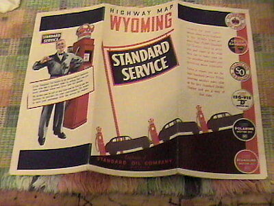 1937 Standard Service Oil Company Wyoming Road Map !!!