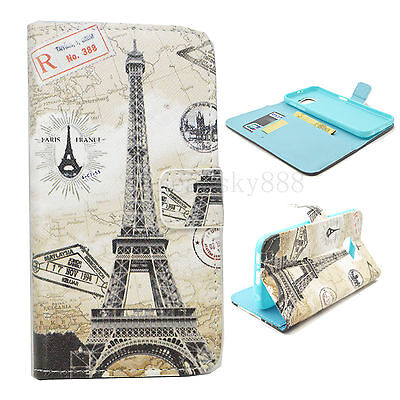 Eiffel Tower Flip PU Leather Stand Wallet Gel Case Cover For Samsung Galaxy S6