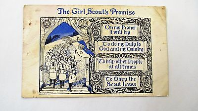 The Girl Scout's Promise Vintage Unused Postcard