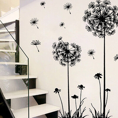 Creative PVC Dandelion Flower Plant Tree Large Removable Home Wall Sticker Decal
