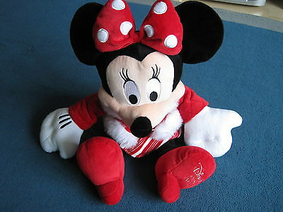 """Large 18"""" Minnie Mouse soft cuddly toy from Disney Store - Christmas 2010 - VGC"""