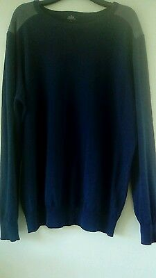 Mens Dark Blue Sweater Size L Matalan With Grey Shoulder Perfect Cond.