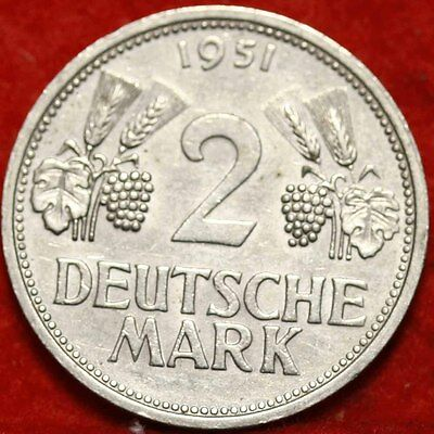 1951-F Germany 2 Deutsche Mark Foreign Coin Free S/H