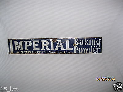 Rare Imperial Absolutely Pure Baking Power Blue Porcelain Sign