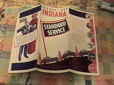 1937 Standard Service Oil Company Indiana Road Map !!!