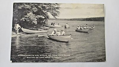 1943 Boating - Massachusett's Girl Scouts Camp Four Winds Postcard