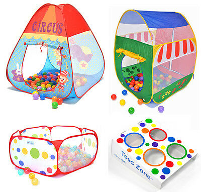 4-Piece Combo Kids Fun Portable Indoor Pop-Up Tent & Playpen w/ Toss Zone Game