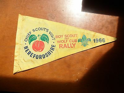 Vintage Chief Scouts Visit Herefordshire Boy Scout  Rally 1966 Cloth Pennant #