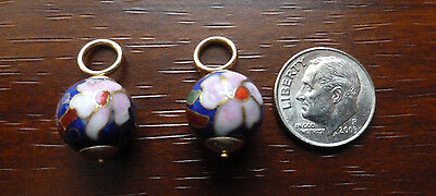 BLUE with PINK 10mm Cloisonne Earring Hoop Charms 14K Yellow Gold ~ Gorgeous! ~