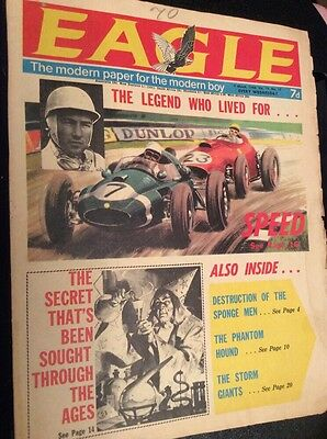 """Vintage Eagle Comic Vol 19 #10 9th March 1968 """"The Legend Who Lived For Speed"""""""