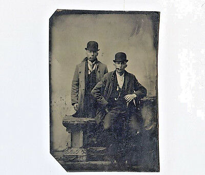 c1885 Tintype of  2 Young Men in Bowler Hats w Cigars