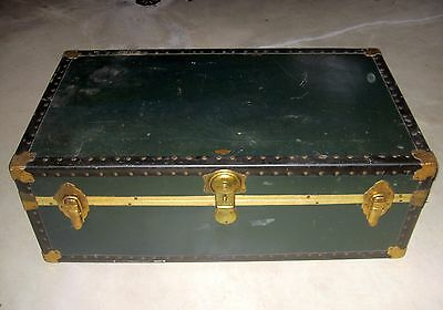 Vintage Steamer Travel Trunk Spaulding Chest Military  Wwii Marion Bauman