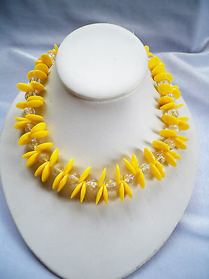 Vintage Yellow Plastic Disc Bead & CLear Lucite Bead Necklace